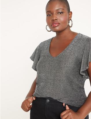 ELOQUII Sparkle Flutter Sleeve Knit Top