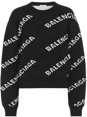 Balenciaga Logo intarsia wool sweater