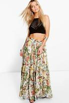 Boohoo Boutique Bea Floral Print Gathered Maxi Skirt
