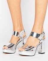 Lost Ink Maggie Silver Platform Heeled Sandals