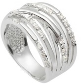 Journee Collection 1/5 CT. T.W. Round-cut Cubic Zirconia Tapered Pave Set Band in Sterling Silver - Silver