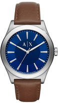 Armani Exchange Nico Stainless Steel Leather Strap Watch