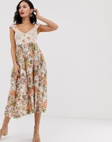 Free People Love You floral print midi dress