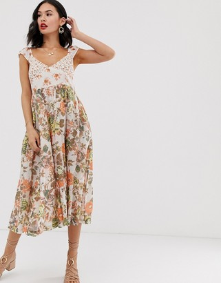 Free People Love You floral print midi dress-White