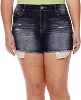 Vanilla Star Crochet-Trim Distressed Denim Shorts - Juniors Plus