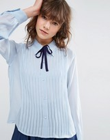 Asos Pintuck Blouse with Tie Detail