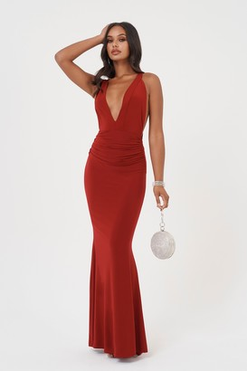 Club L Womens **Red Open Back Strap Maxi Dress By Red