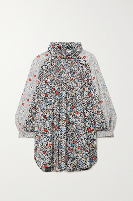 SEE BY CHLOE - Patchwork Floral-print Crepe Blouse - Black