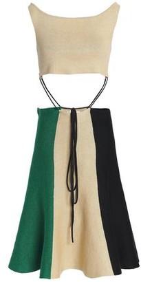 J.W.Anderson Tie-front Cutout Color-block Linen-blend Dress
