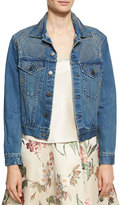 Alice + Olivia Chloe Studded Denim Jacket, Blue