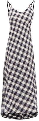 Belize - Carole V-neck Cotton-gingham Midi Dress - Navy White