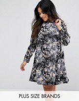 AX Paris Plus Shirt Dress In Marble Print