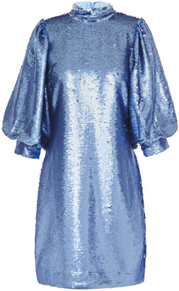 Ganni Gathered Sequined Tulle Mini Dress