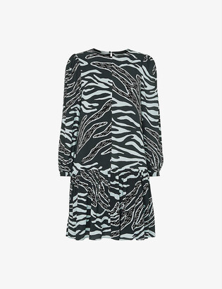 Whistles Zebra-print crepe mini dress