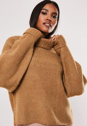 Missguided Camel Rib Roll Neck Batwing Knitted Jumper