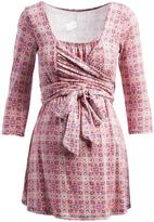 Glam Pink & White Arabesque Maternity Wrap Tunic