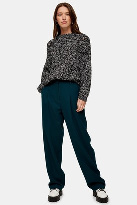 Topshop Womens Teal Twill Slouch Peg Trousers - Teal