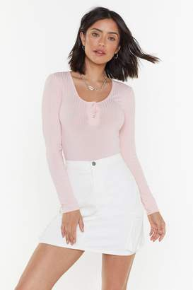 Nasty Gal Womens Ribbed Popper Bodysuit - Pink - 4, Pink