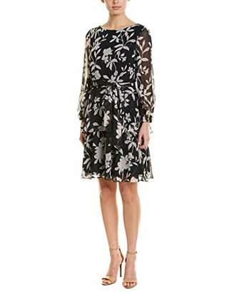 Jessica Howard Women's Balloon Sleeve Dress with Double Layer Skirt