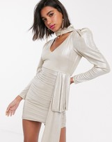 Atoir white noise metallic bodycon ruched dress