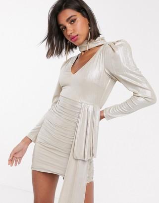 Atoir white noise metallic bodycon ruched dress