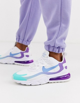Nike blue and purple Air Max 270 React trainers-Pink