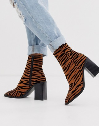 Head Over Heels By Dune Olivee tiger print heeled ankle boots with square toe