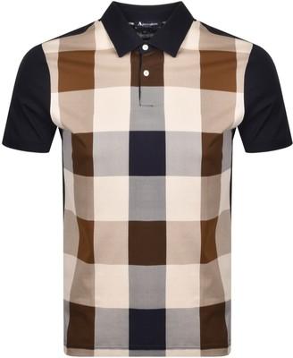 Aquascutum London Abner Club Check Polo T Shirt Navy