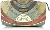 Gattinoni Planetarium Coated Canvas and Leather Medium Clutch
