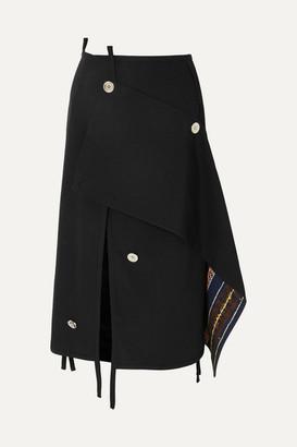 3.1 Phillip Lim Asymmetric Embellished Wool Skirt - Black