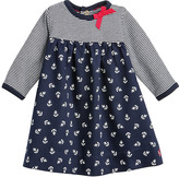 Petit Bateau Baby Girl Two-Fabric Cotton Dress With Little Bow