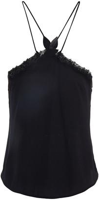 La Perla Lace-trimmed Stretch-silk Georgette Pajama Top