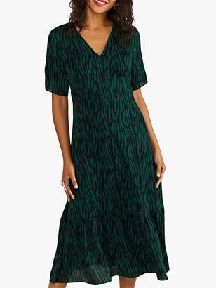 Yumi Zebra Stripe Print Midi Dress, Green