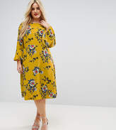 Asos Printed Midi Column Dress With Fluted Sleeve In Dark Floral Print