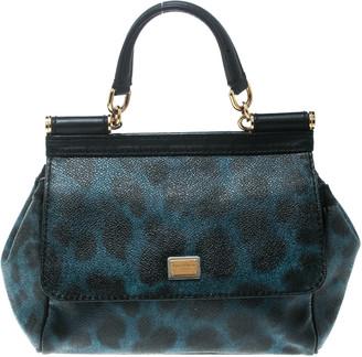 Dolce & Gabbana Black/Blue Animal Print Leather Mini Sicily Top Handle Bag