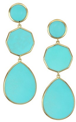 Ippolita Polished Rock Candy 18K Yellow Gold & Turquoise Crazy 8's Triple-Drop Earrings