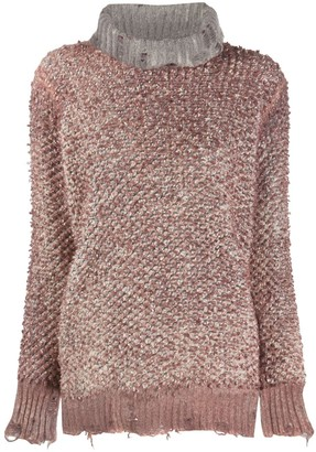 Avant Toi Distressed Textured Knit Jumper