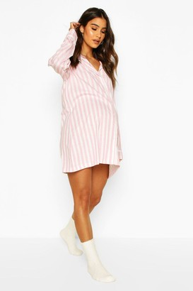boohoo Maternity Stripe Pipe Detail Sleep Shirt