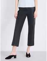 J Brand Amari straight cropped leather trousers
