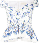Peter Pilotto bird print off-shoulder top - women - Cotton/Polyamide - 10
