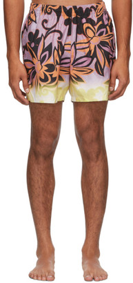 Dries Van Noten Purple and Orange Floral Swim Shorts