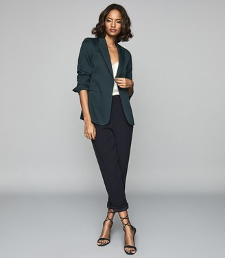 Reiss NEYA Textured Tailored Blazer Petrol Blue