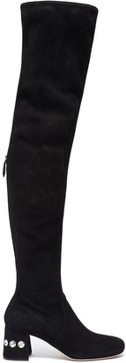 Miu Miu Glass crystal heel suede thigh high boots