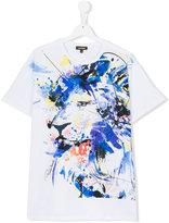 Roberto Cavalli lion print paint splatter T-shirt - kids - Cotton/Spandex/Elastane - 16 yrs