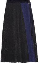 Sacai Velvet-trimmed Pleated Lace Wrap Skirt - Blue