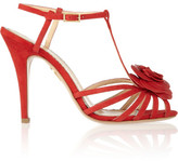 Charlotte Olympia Rosa Rose-appliquéd Leather Sandals - Red
