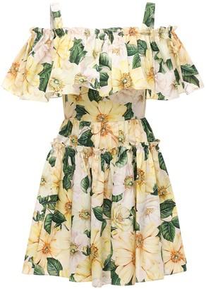 Dolce & Gabbana Camelia Print Cotton Poplin Mini Dress