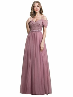 Ever Pretty Ever-Pretty Women's V Neck Cold Shoulder Elegant Floor Length A Line Tulle Evening Party Dresses Orchid 10UK