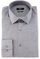 HUGO BOSS Jenno Slim-Fit Dot-Print Dress Shirt, Gray