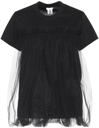 Noir Kei Ninomiya Cotton and tulle top